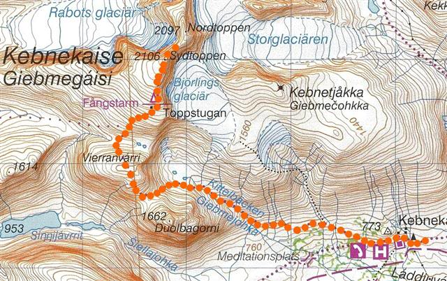 Karta över leden mellan Kebnekaise sydtopp och fjällstationen.