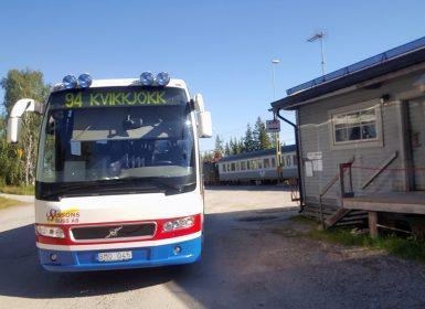 Buss 94 från Murjek till Kvikkjokk