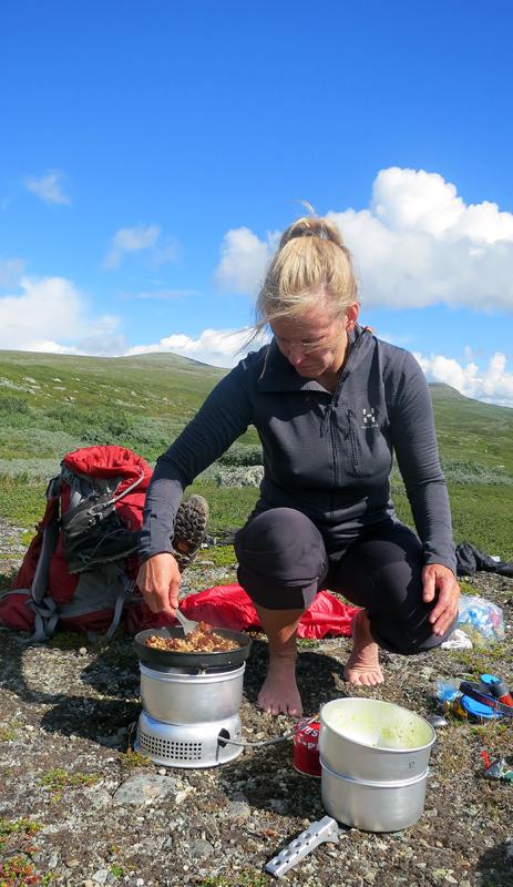Annalena lagar lunchen vid Favnoajvves- och Bårdegienhtjes branta kanter