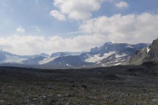 Topparna Nördre Veotinden Veobreatindens glaciär