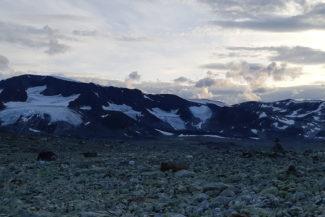 Delar av Veobrean (glaciär) i skymningen.